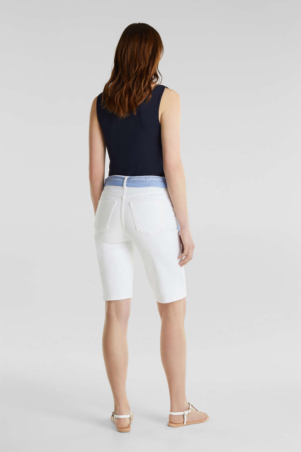 With TENCEL™: Bermudas with bandana, WHITE, detail image number 2