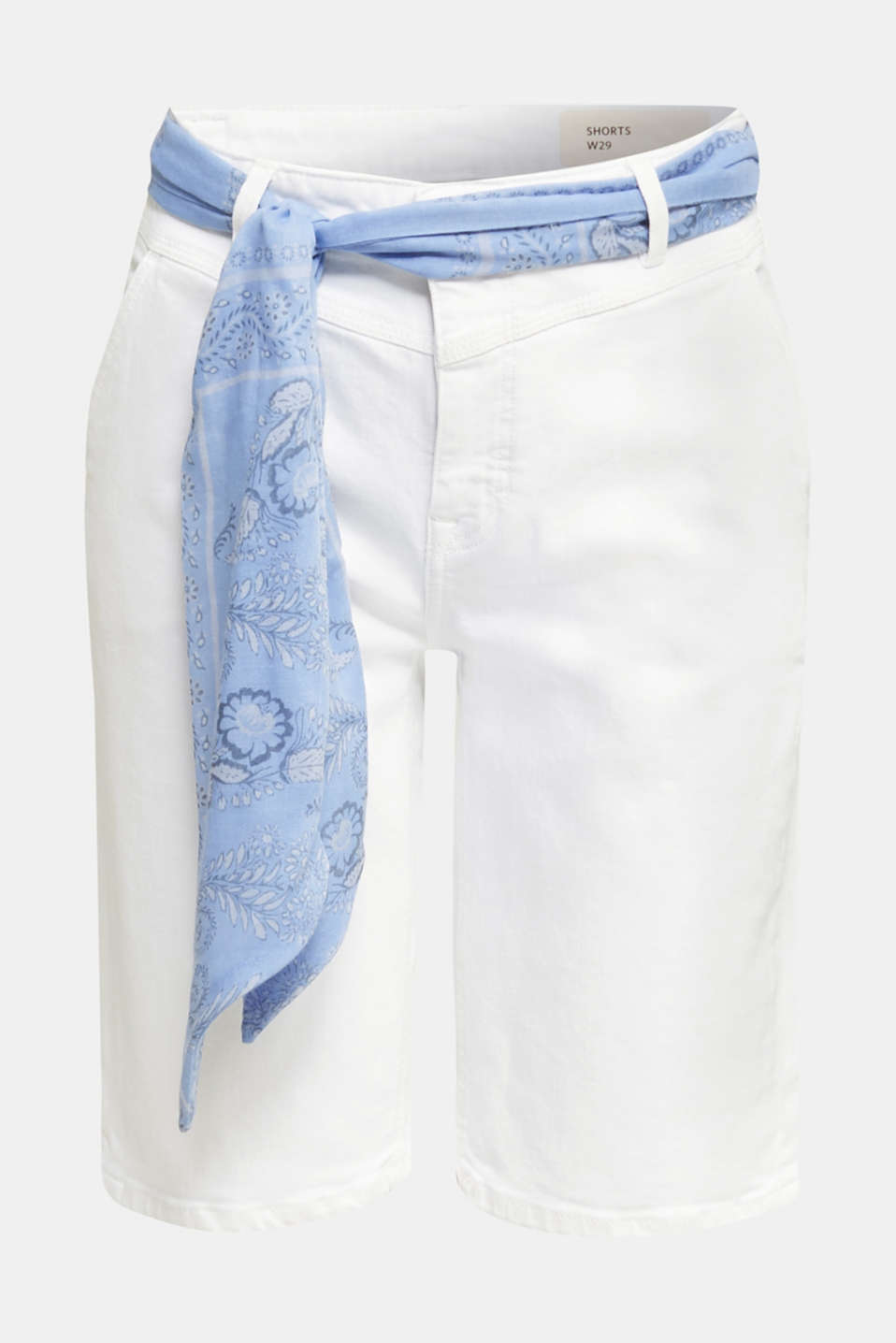 With TENCEL™: Bermudas with bandana, WHITE, detail image number 4