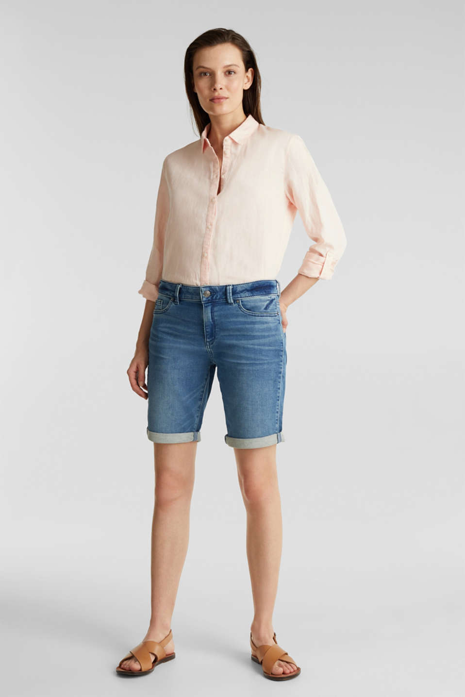 Esprit - Shorts made of soft tracksuit denim