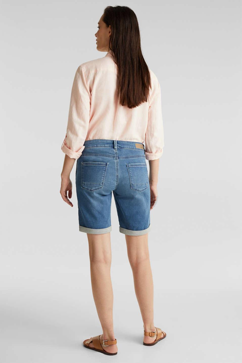 Shorts made of soft tracksuit denim, BLUE MEDIUM WASH, detail image number 2