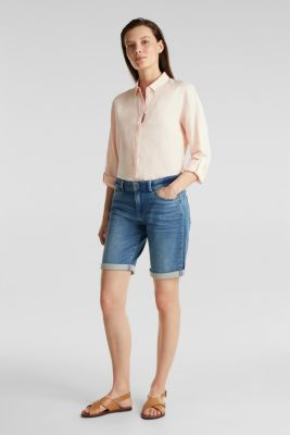 Shorts made of soft tracksuit denim, BLUE MEDIUM WASH, detail