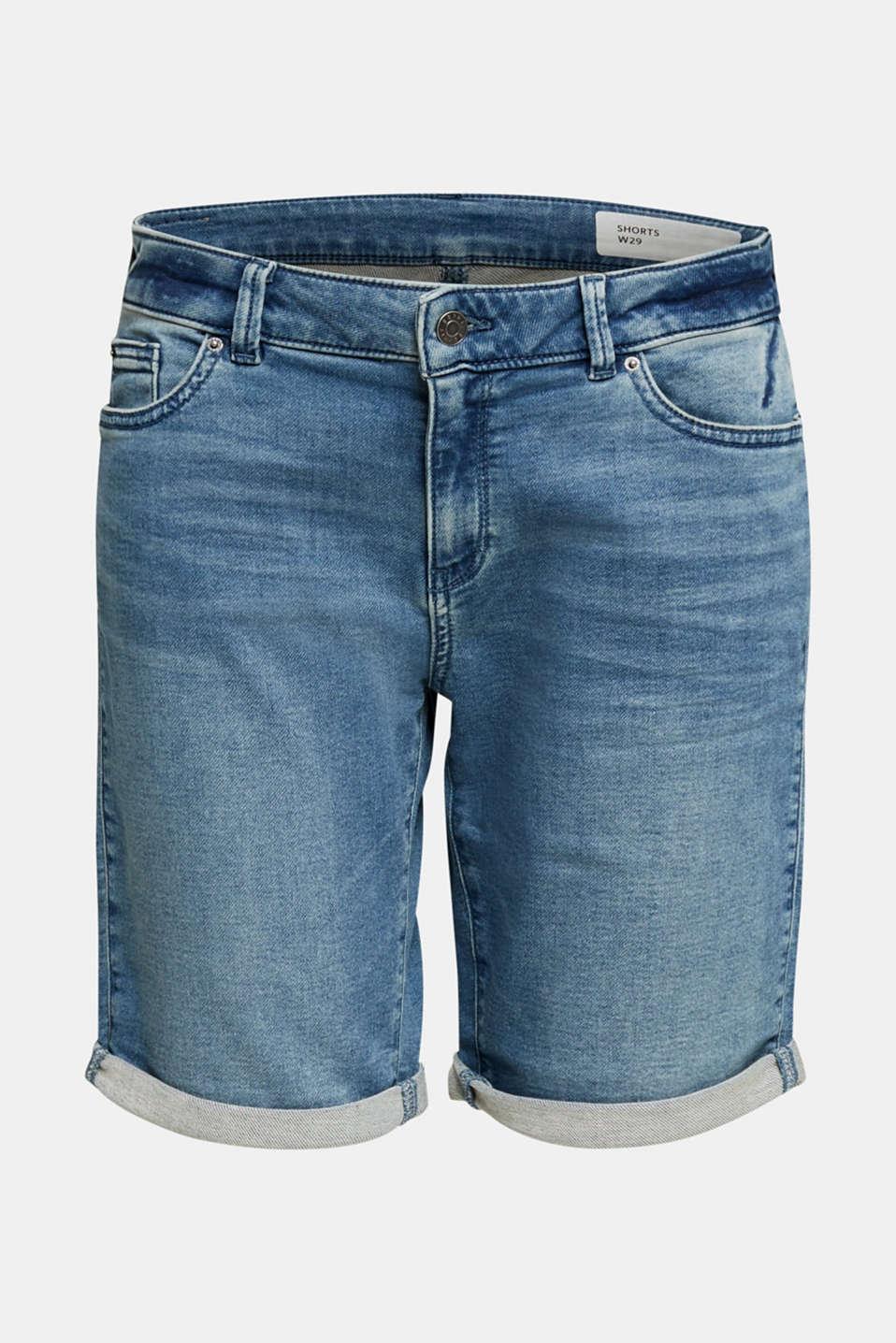 Shorts made of soft tracksuit denim, BLUE MEDIUM WASH, detail image number 5