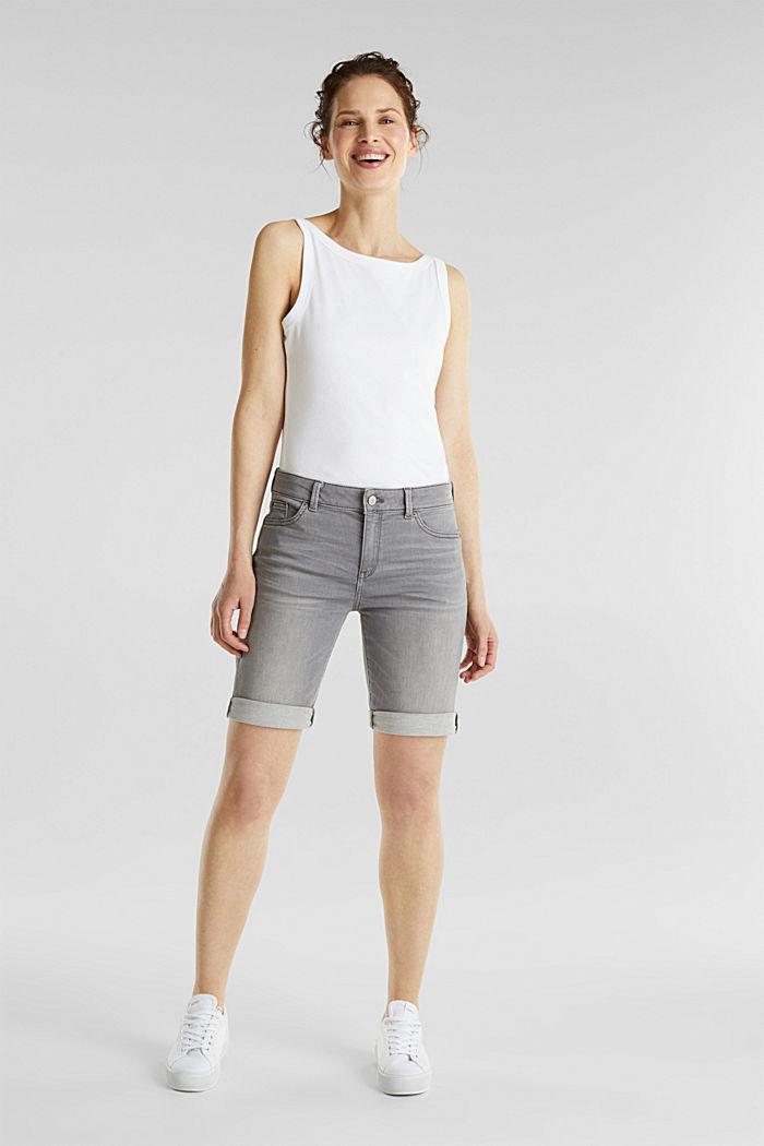 Bermuda shorts made of soft tracksuit fabric denim, GREY MEDIUM WASHED, detail image number 1