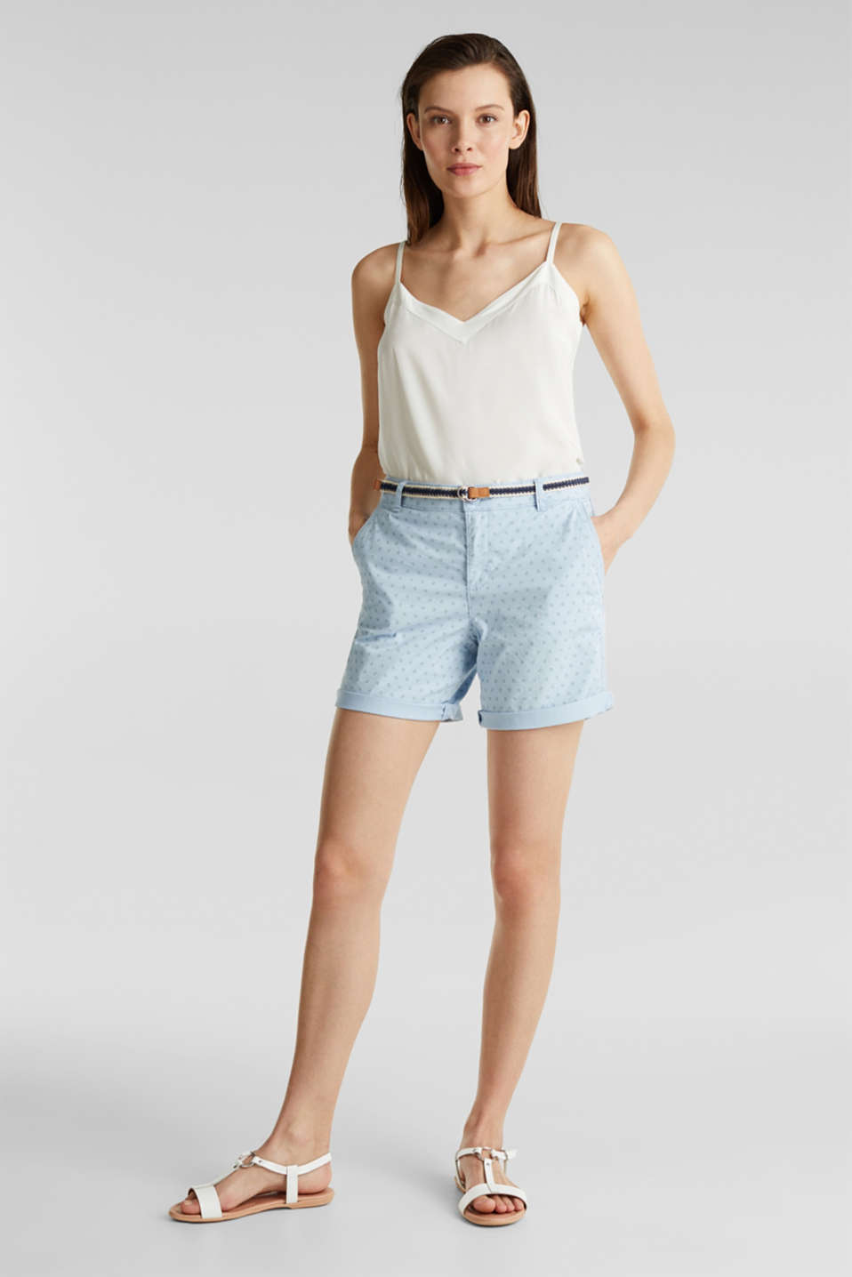 Cotton shorts with Lycra xtra life™, LIGHT BLUE, detail image number 0