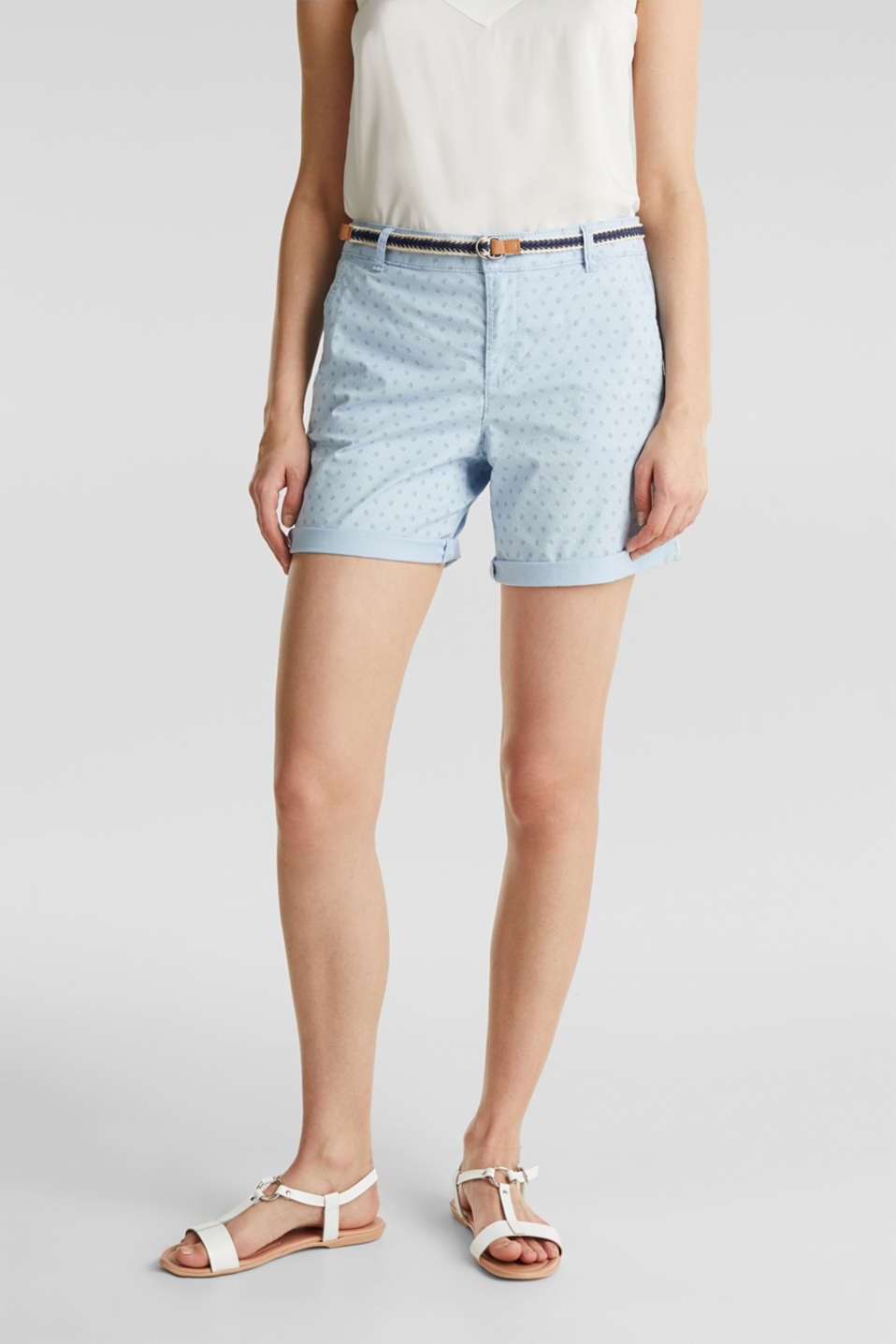 Cotton shorts with Lycra xtra life™, LIGHT BLUE, detail image number 5