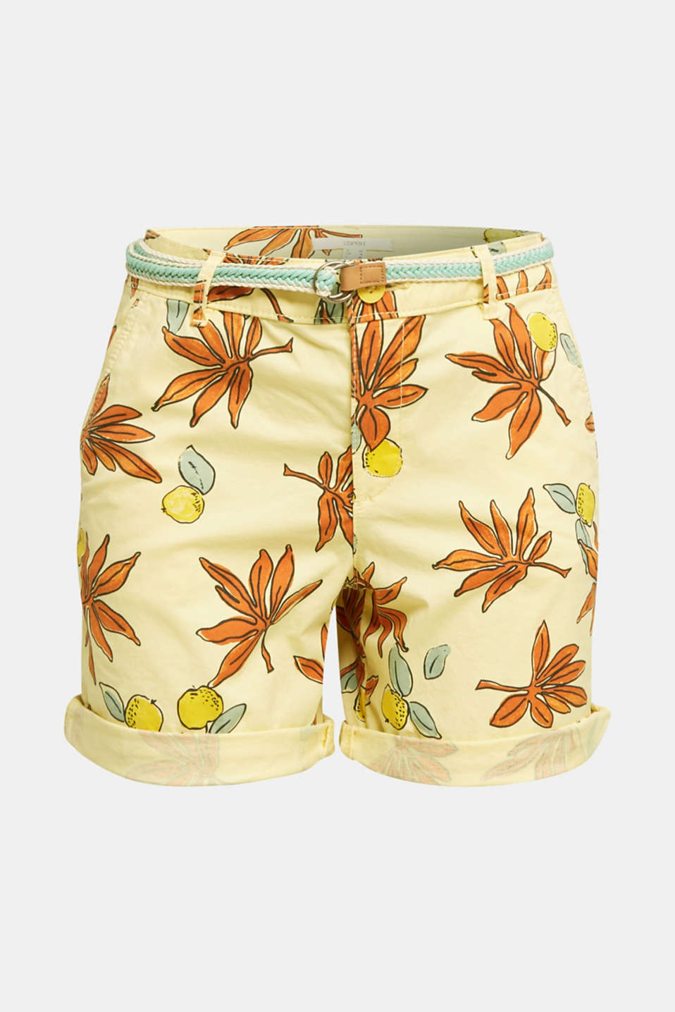 Cotton shorts with Lycra xtra life™, BRIGHT YELLOW, detail image number 5