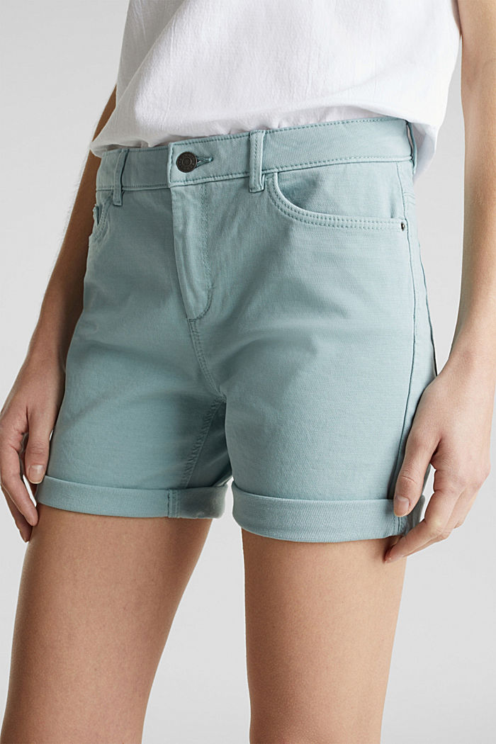 REPREVE® stretch shorts, recycled, LIGHT AQUA GREEN, detail image number 1