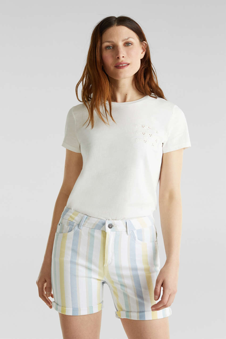 Stretch shorts with stripes, WHITE, detail image number 0