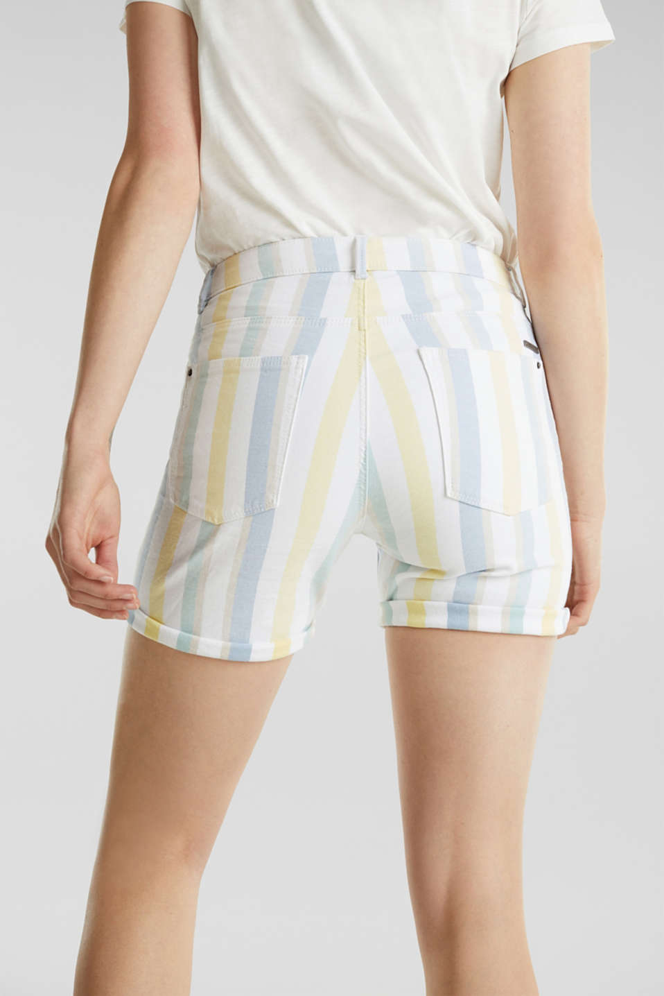 Stretch shorts with stripes, WHITE, detail image number 3