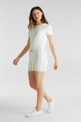 Stretch shorts with stripes, WHITE, detail