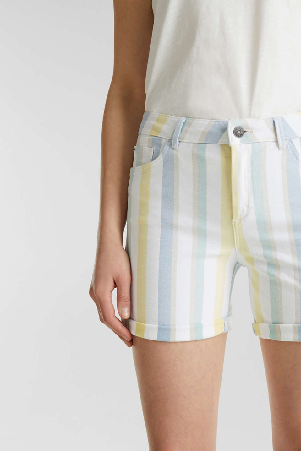 Stretch shorts with stripes, WHITE, detail image number 2