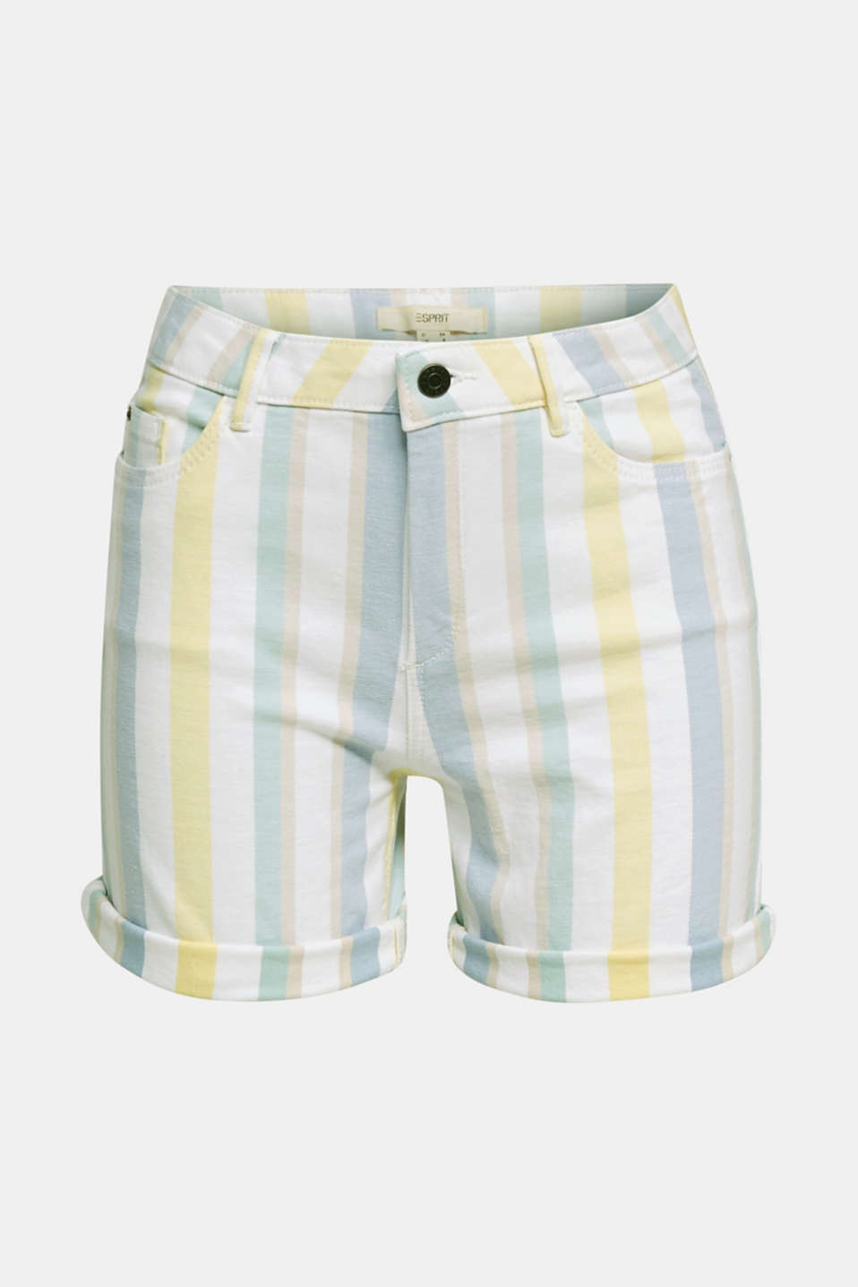 Stretch shorts with stripes, WHITE, detail image number 5