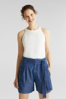 Made of TENCEL™: shorts in a denim look, BLUE DARK WASH, detail