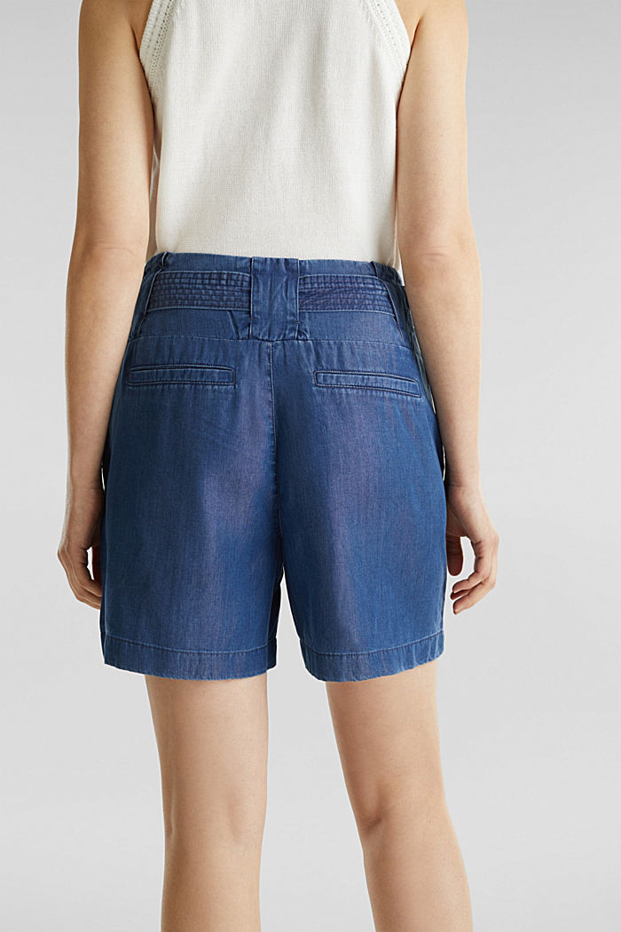 Made of TENCEL™: shorts in a denim look, BLUE DARK WASHED, detail image number 1