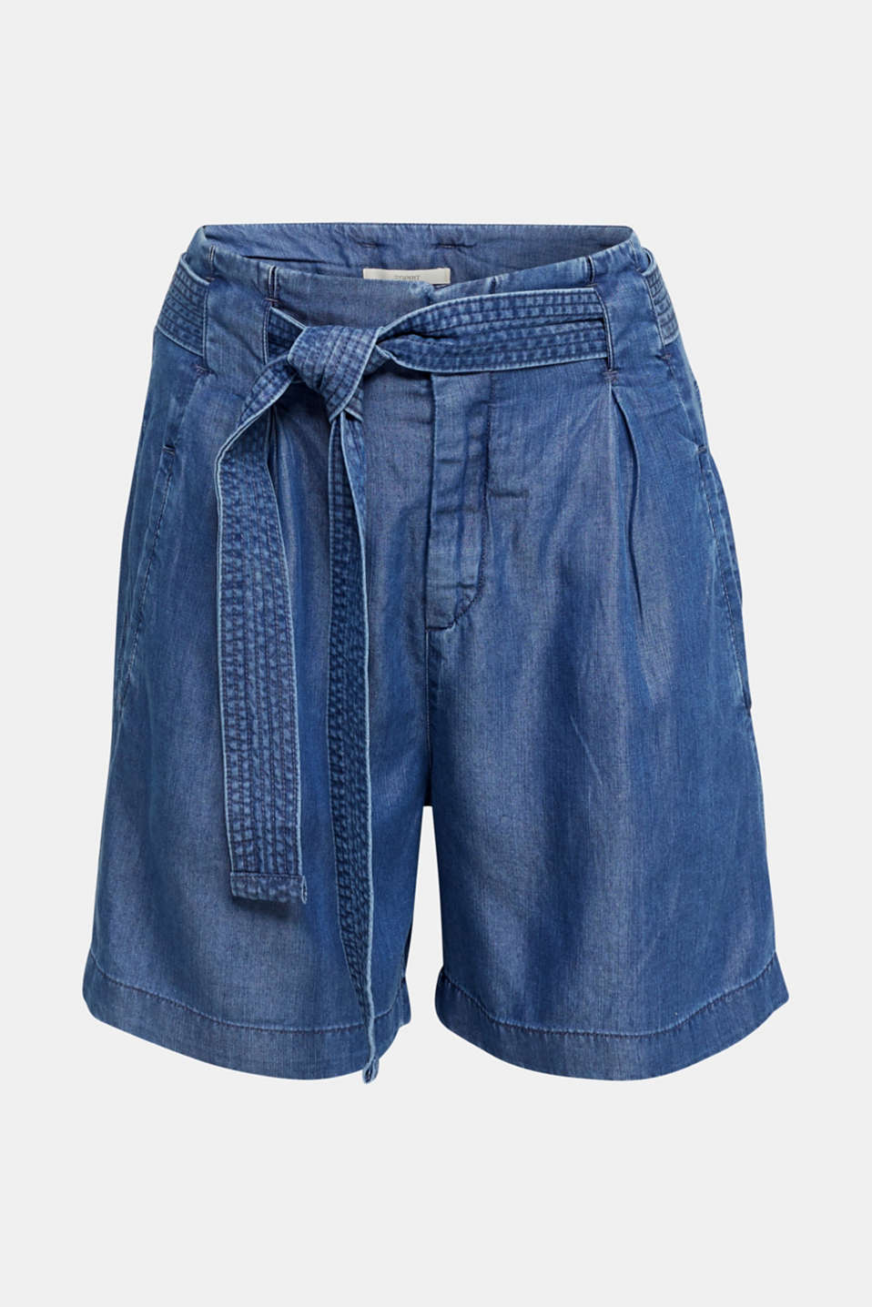 Made of TENCEL™: shorts in a denim look, BLUE DARK WASH, detail image number 3