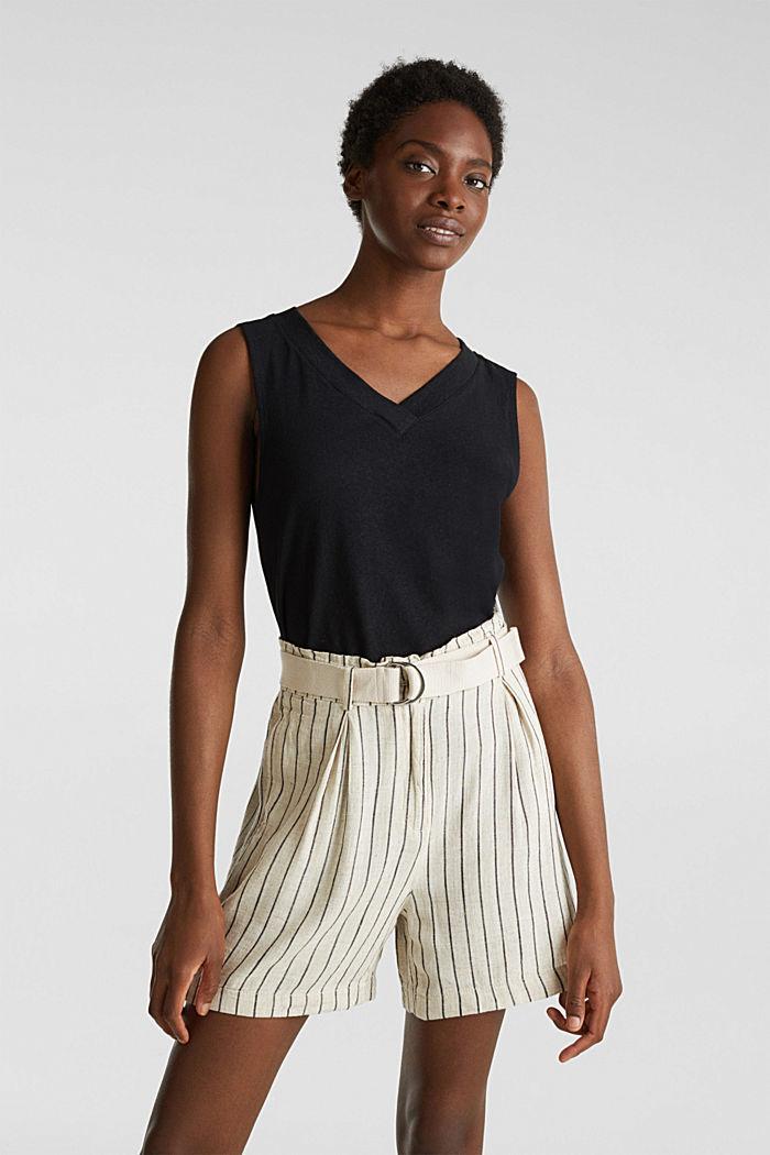 Linen blend: paperbag Bermuda shorts, SAND, detail image number 0