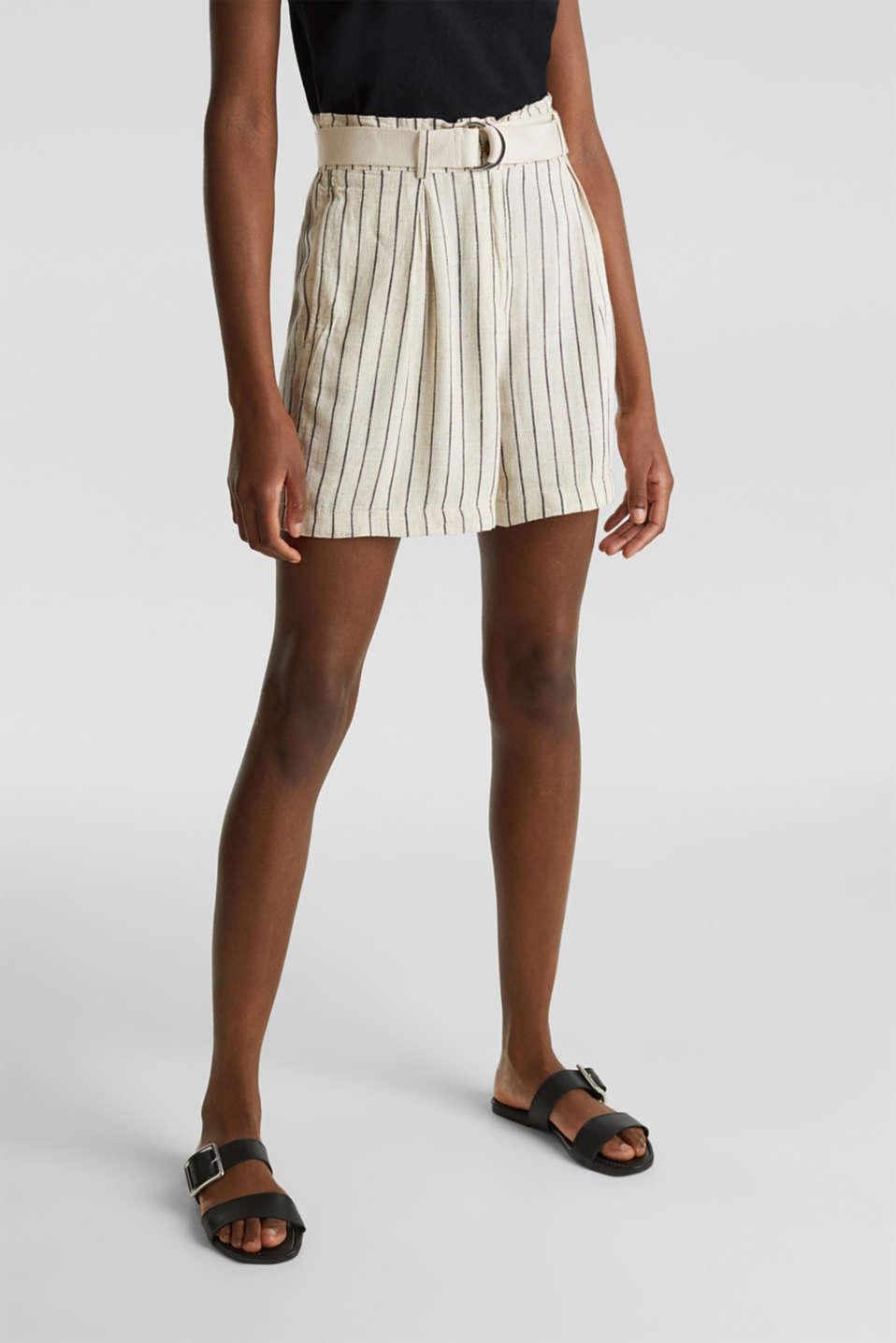 Linen blend: paperbag Bermuda shorts, SAND, detail image number 6