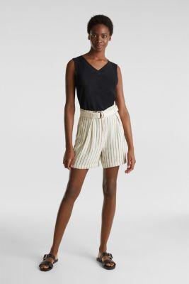 Linen blend: paperbag Bermuda shorts, SAND, detail