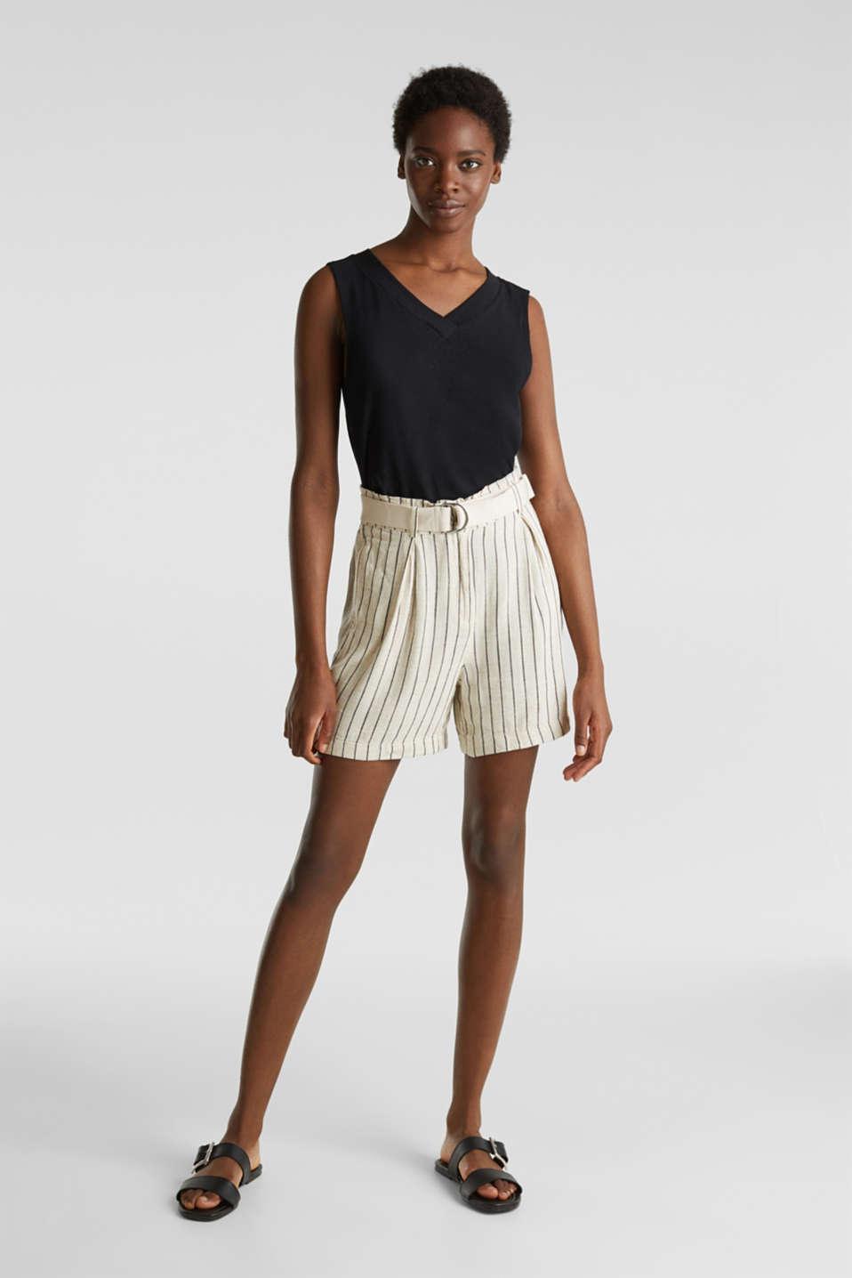 Linen blend: paperbag Bermuda shorts, SAND, detail image number 1