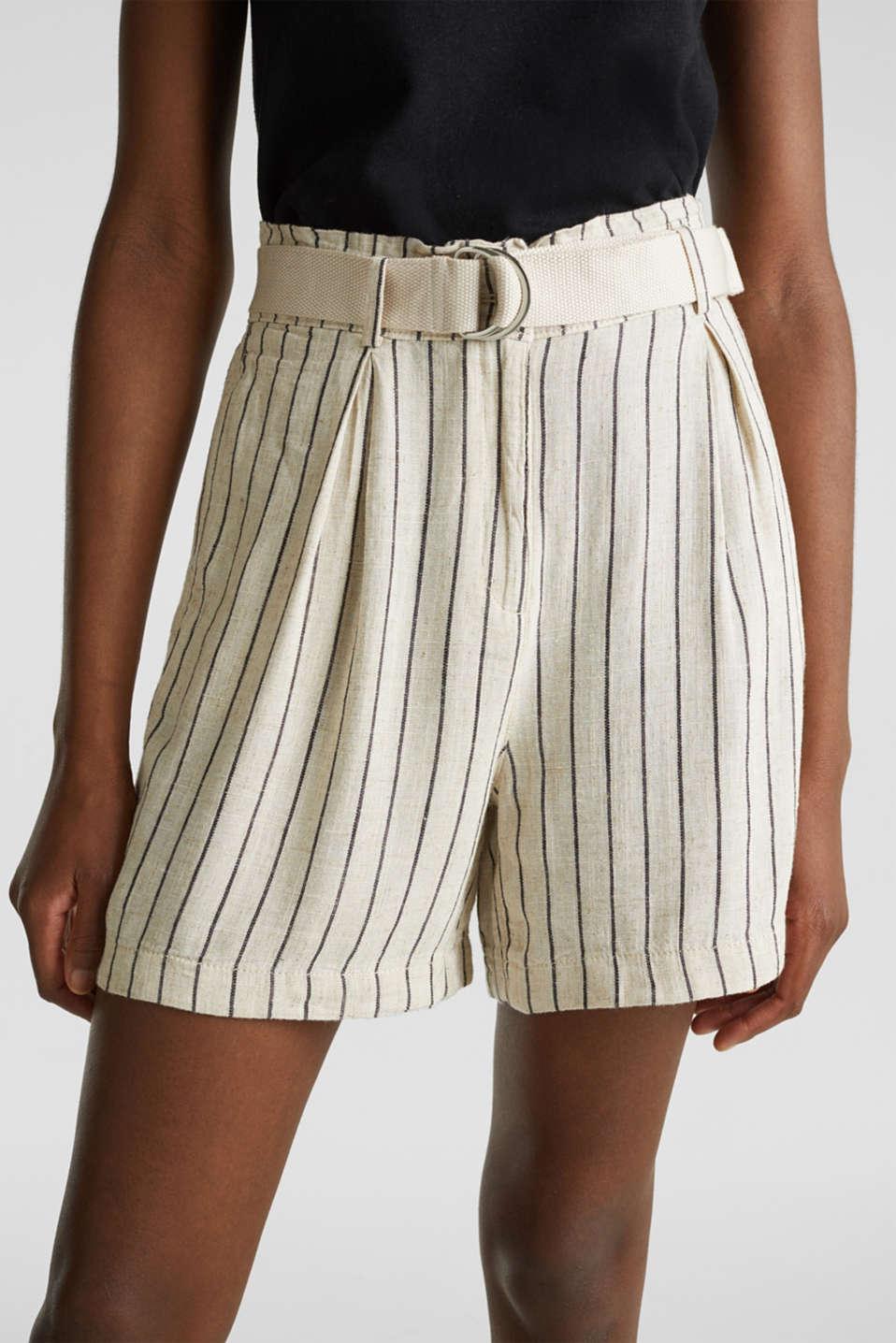 Linen blend: paperbag Bermuda shorts, SAND, detail image number 2