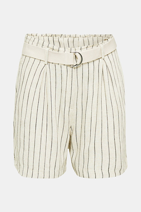 Linen blend: paperbag Bermuda shorts