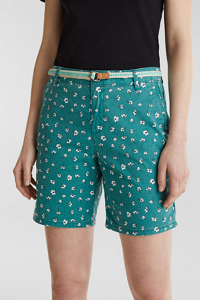 Cotton shorts with Lycra xtra life™, TEAL GREEN, detail image number 2
