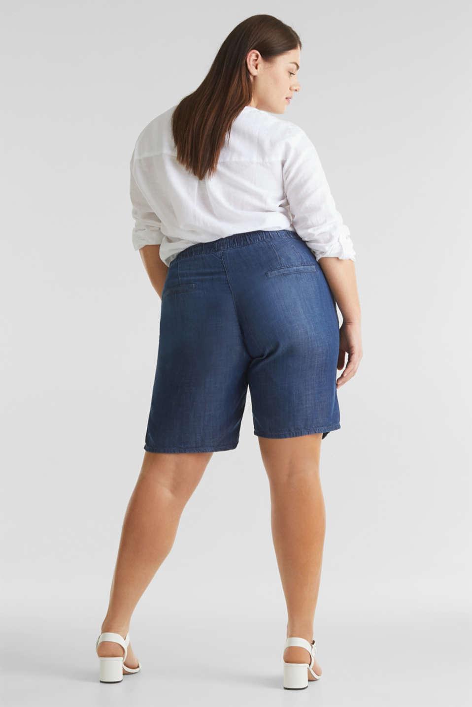CURVY lyocell denim shorts, BLUE DARK WASH, detail image number 2