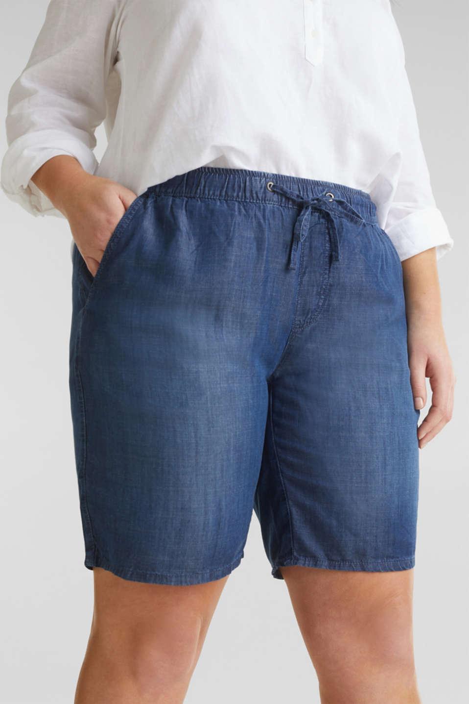 CURVY lyocell denim shorts, BLUE DARK WASH, detail image number 1