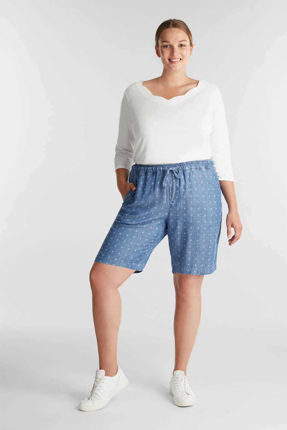 CURVY made of TENCEL™: Shorts, BLUE MEDIUM WASH, detail image number 1