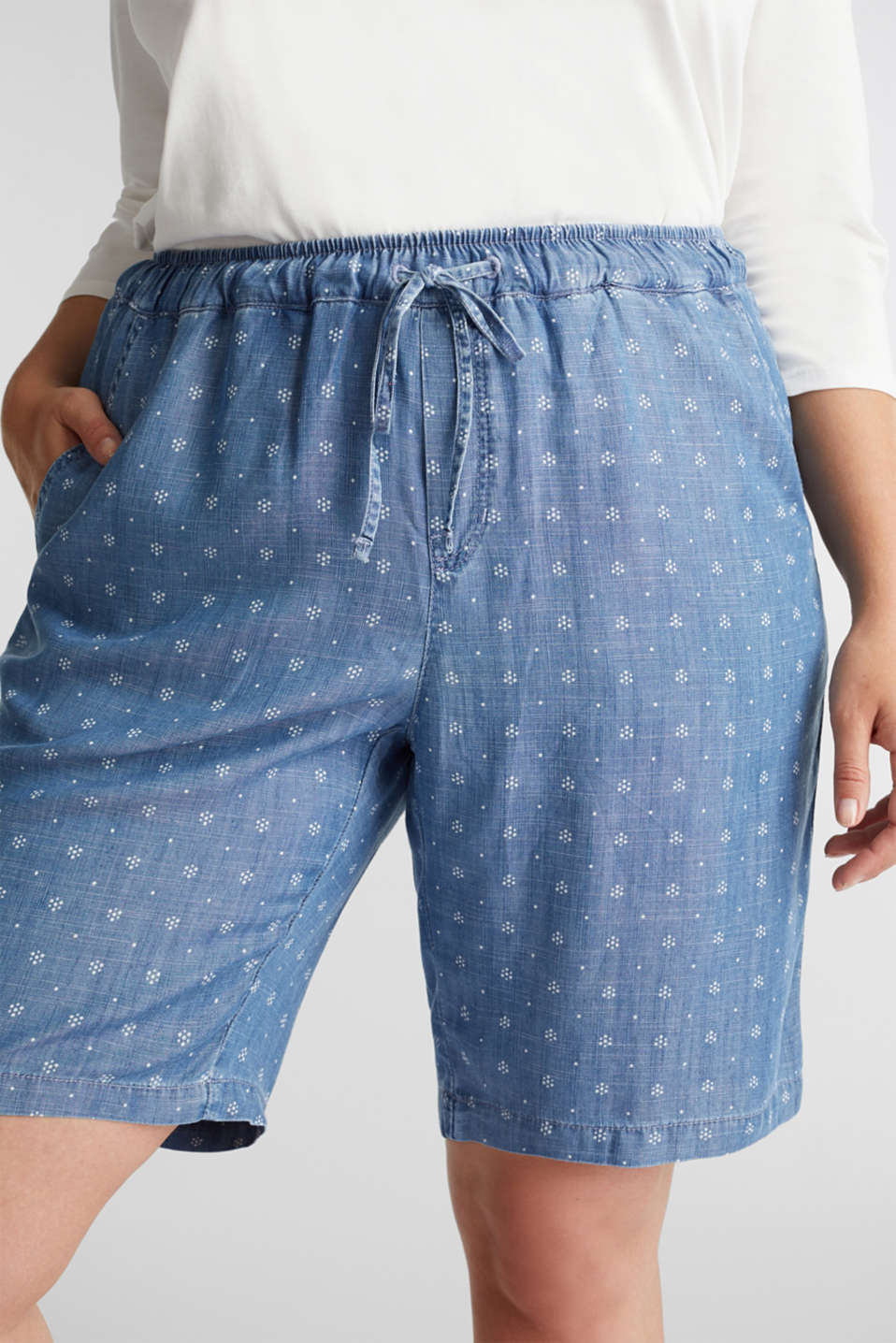 CURVY made of TENCEL™: Shorts, BLUE MEDIUM WASH, detail image number 2