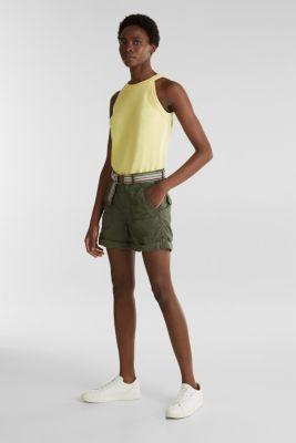 PLAY organic cotton shorts, KHAKI GREEN, detail