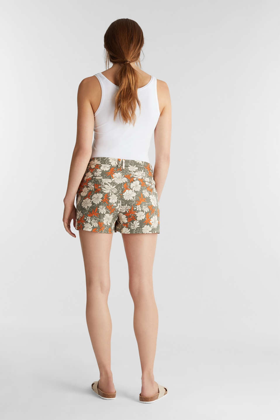 Shorts with a floral print, KHAKI GREEN 4, detail image number 3