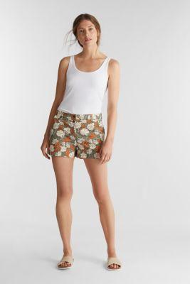 Shorts with a floral print, KHAKI GREEN 4, detail