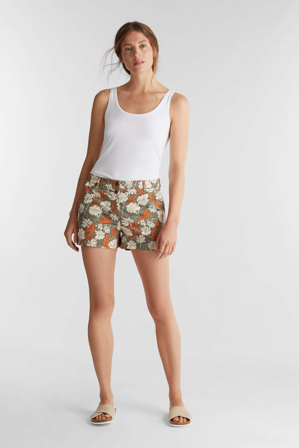 Shorts with a floral print, KHAKI GREEN 4, detail image number 1
