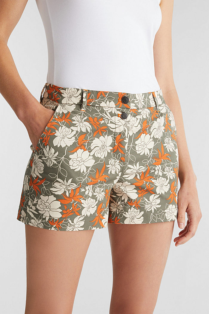 Shorts with a floral print, KHAKI GREEN, detail image number 2
