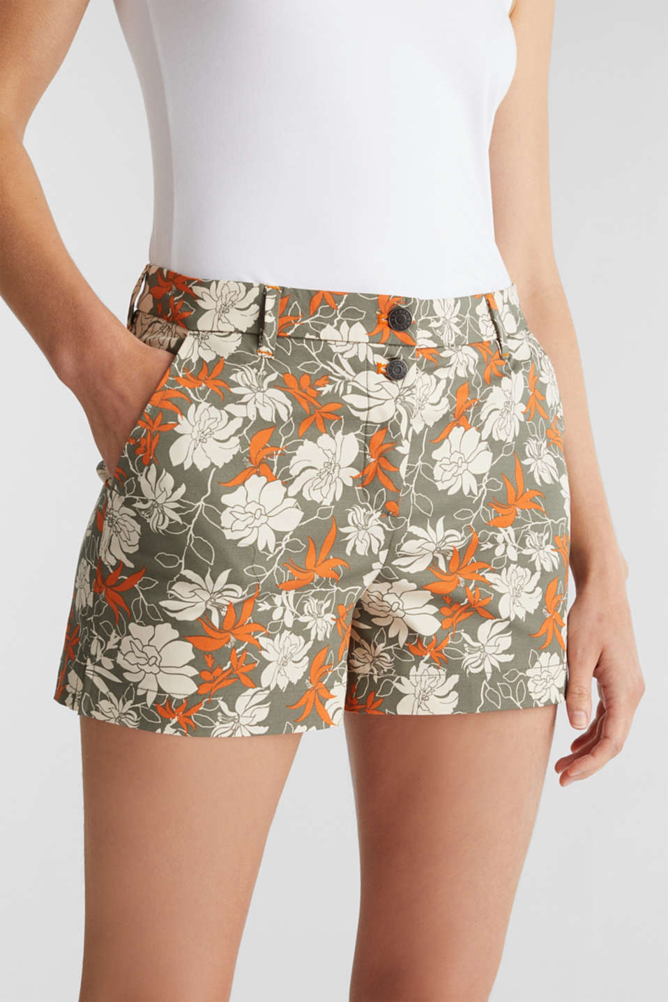 Shorts with a floral print, KHAKI GREEN 4, detail image number 2