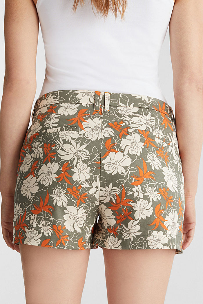 Shorts with a floral print, KHAKI GREEN, detail image number 5