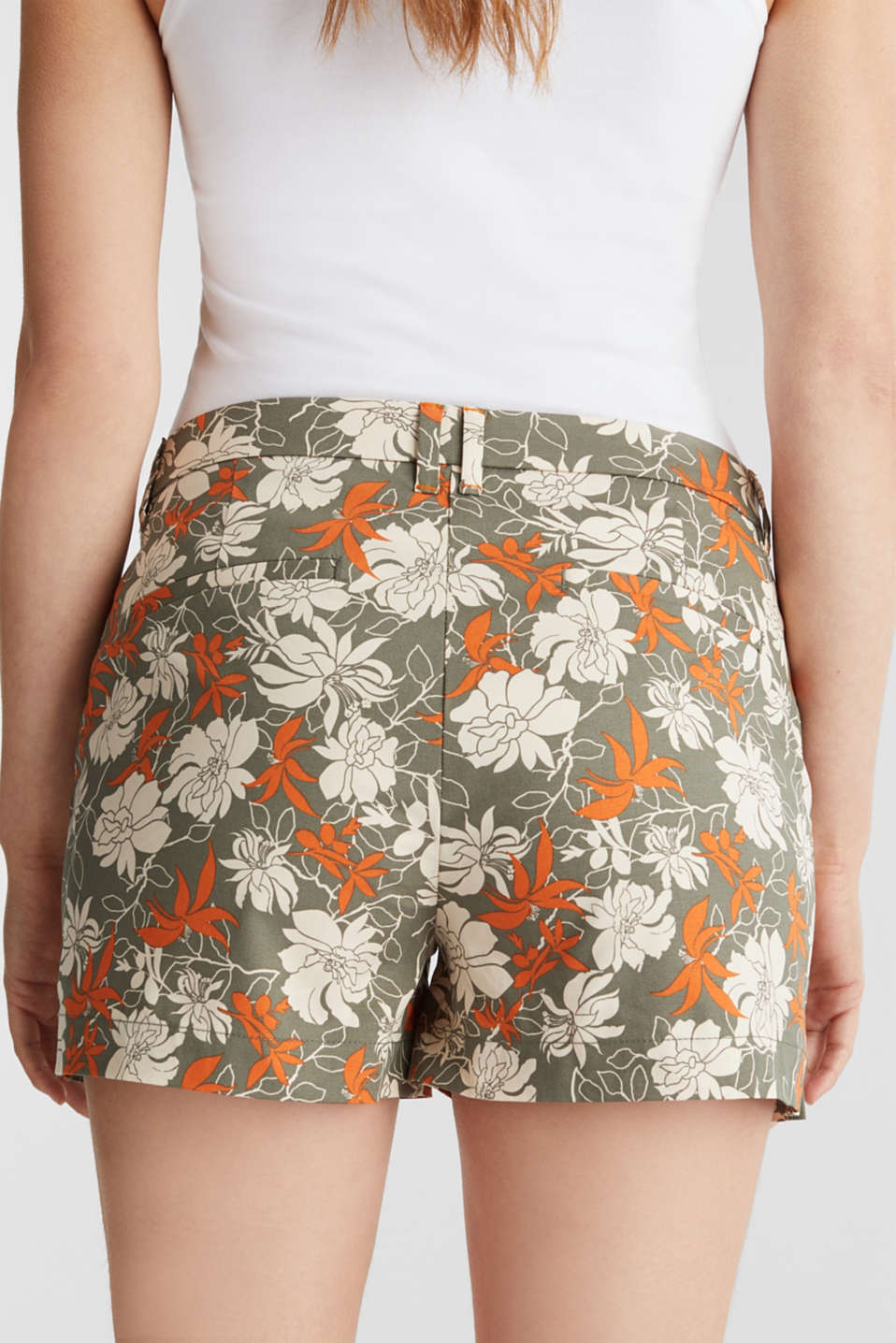 Shorts with a floral print, KHAKI GREEN 4, detail image number 5