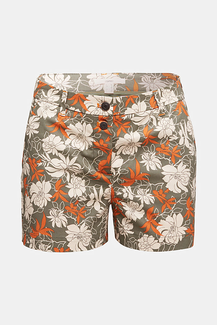 Shorts with a floral print, KHAKI GREEN, detail image number 6