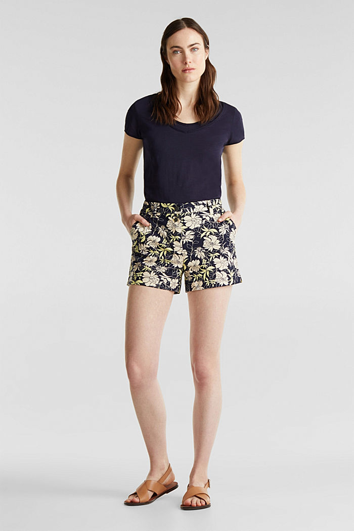Shorts mit Blumen-Print, NAVY, overview