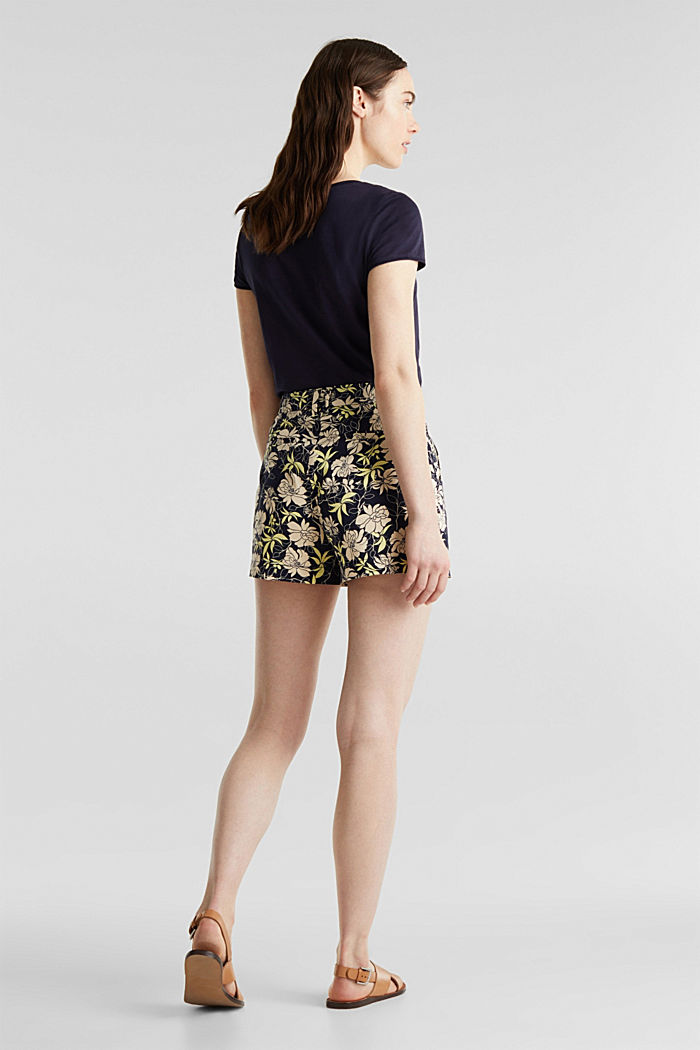 Shorts with a floral print, NAVY, detail image number 3