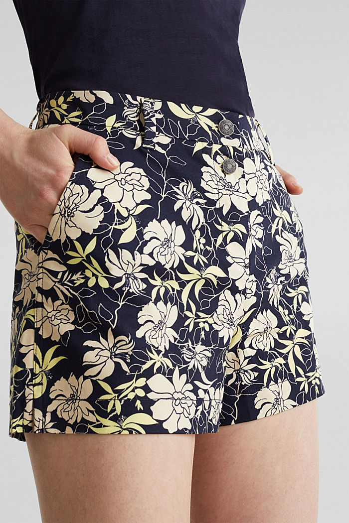 Shorts with a floral print, NAVY, detail image number 2