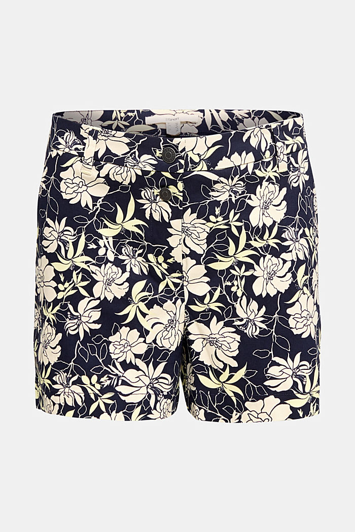 Shorts with a floral print, NAVY, overview