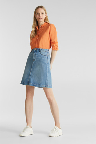 Midi A-line denim skirt
