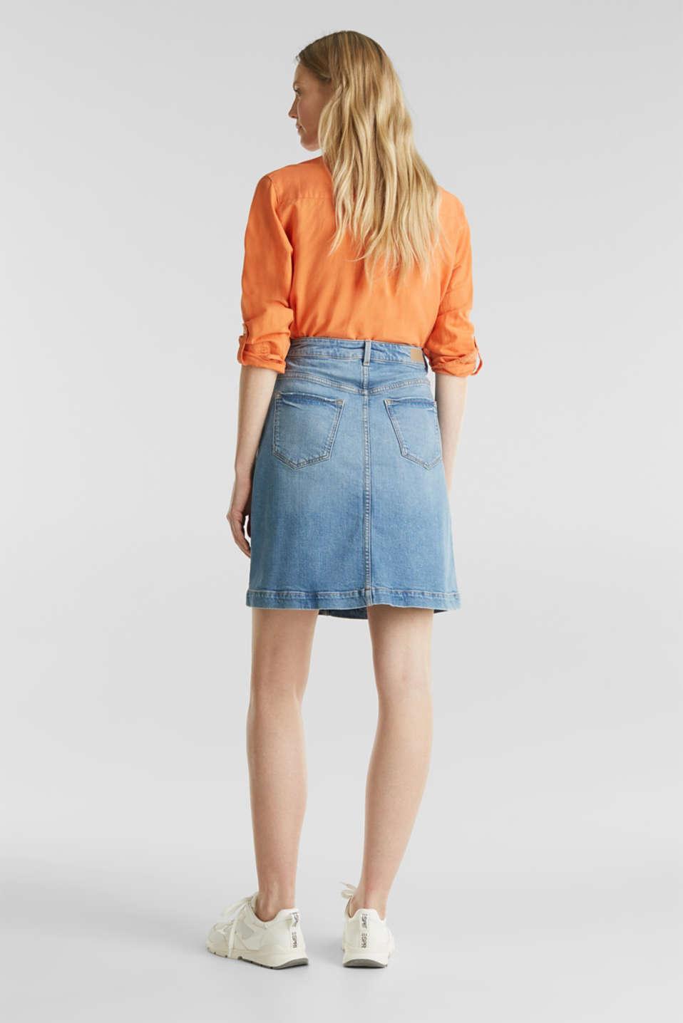 Midi A-line denim skirt, BLUE MEDIUM WASH, detail image number 3