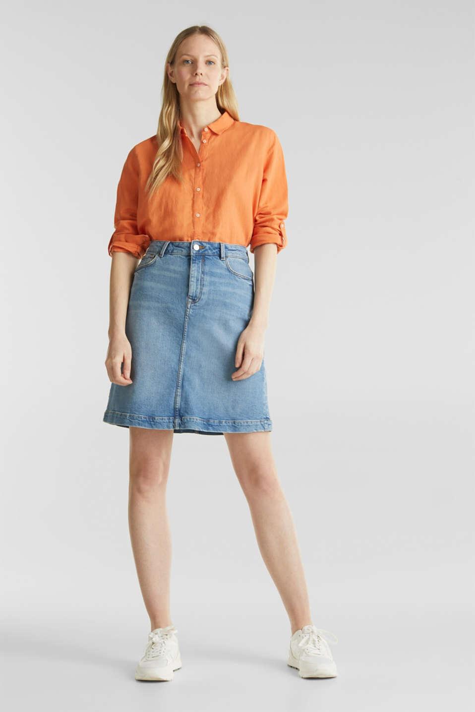 Midi A-line denim skirt, BLUE MEDIUM WASH, detail image number 1