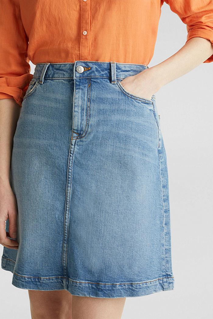 Midi A-line denim skirt, BLUE MEDIUM WASHED, detail image number 2