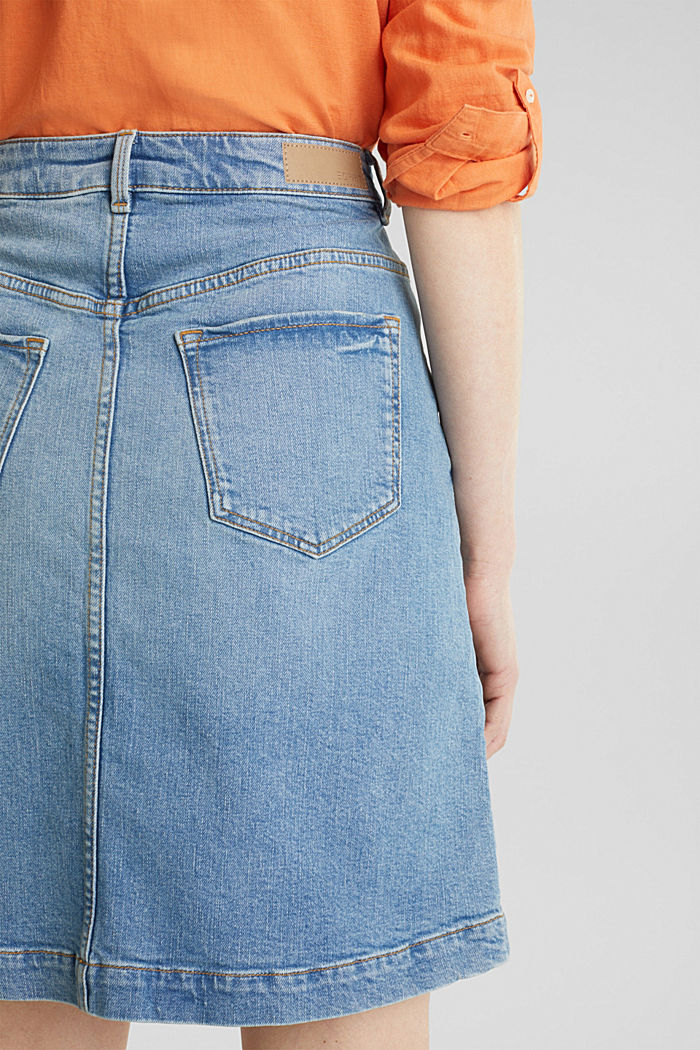 Midi A-line denim skirt, BLUE MEDIUM WASHED, detail image number 5