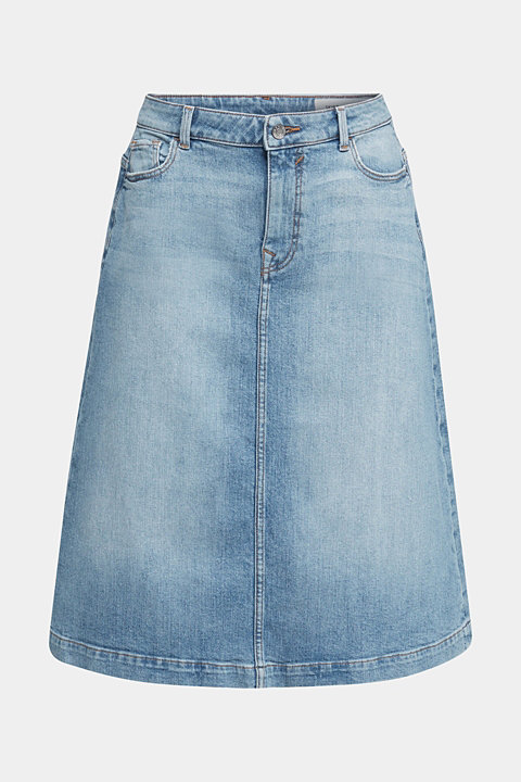 Midi A-line denim skirt