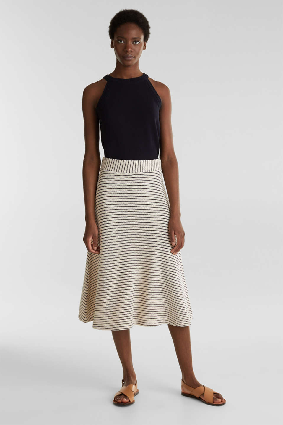 Jersey skirt with textured stripes, SAND, detail image number 0